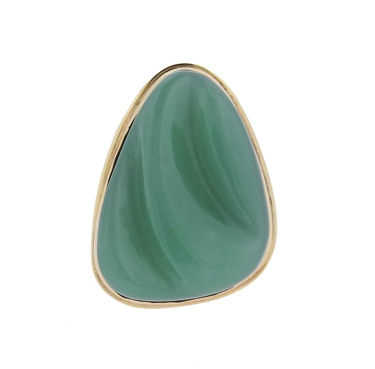 thumbnail image of Burle Marx Forma Livre Carved Chrysoprase Gold Ring