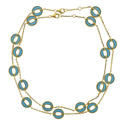 image of 1970s Turquoise Gold Link Necklace Suite