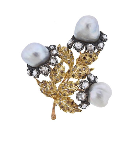 Buccellati Baroque Pearl Diamond Gold Silver Brooch