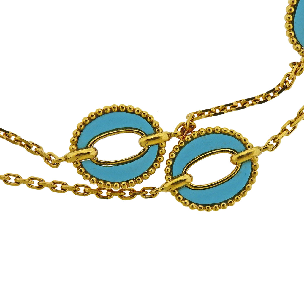 thumbnail image of 1970s Turquoise Gold Link Necklace Suite