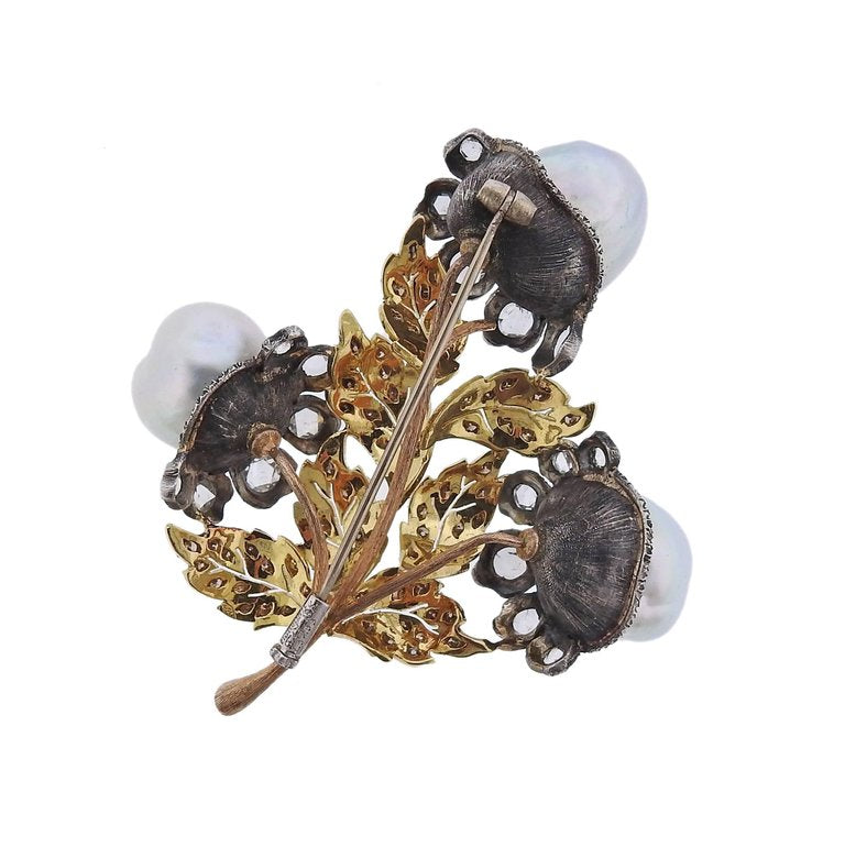 thumbnail image of Buccellati Baroque Pearl Diamond Gold Silver Brooch