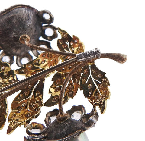 image of Buccellati Baroque Pearl Diamond Gold Silver Brooch