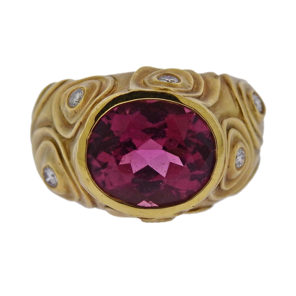 thumbnail image of Angela Cummings 1980s Rubellite Diamond Gold Ring