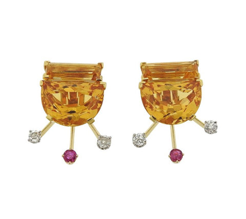 image of Retro Citrine Diamond Ruby Gold Earrings Brooch Suite