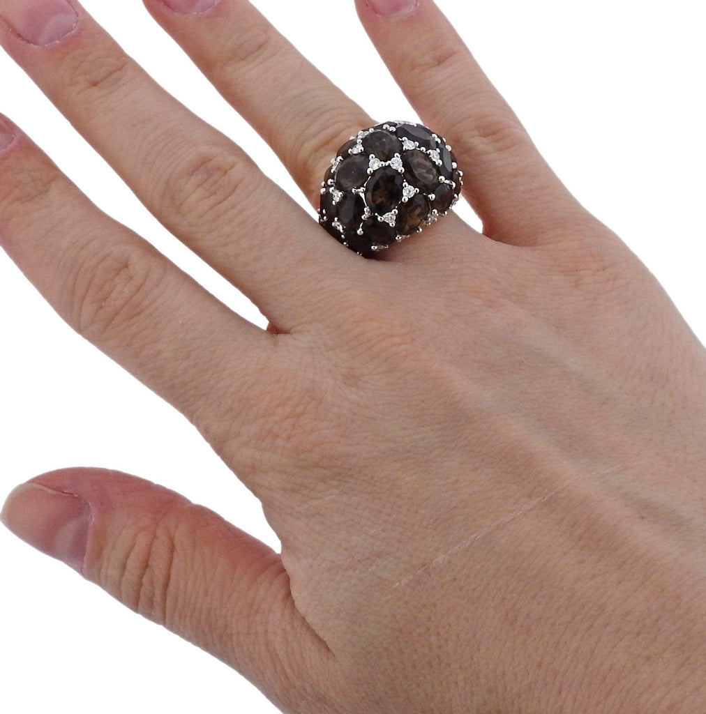 thumbnail image of Mimi Smokey Topaz Diamond Gold Dome Ring