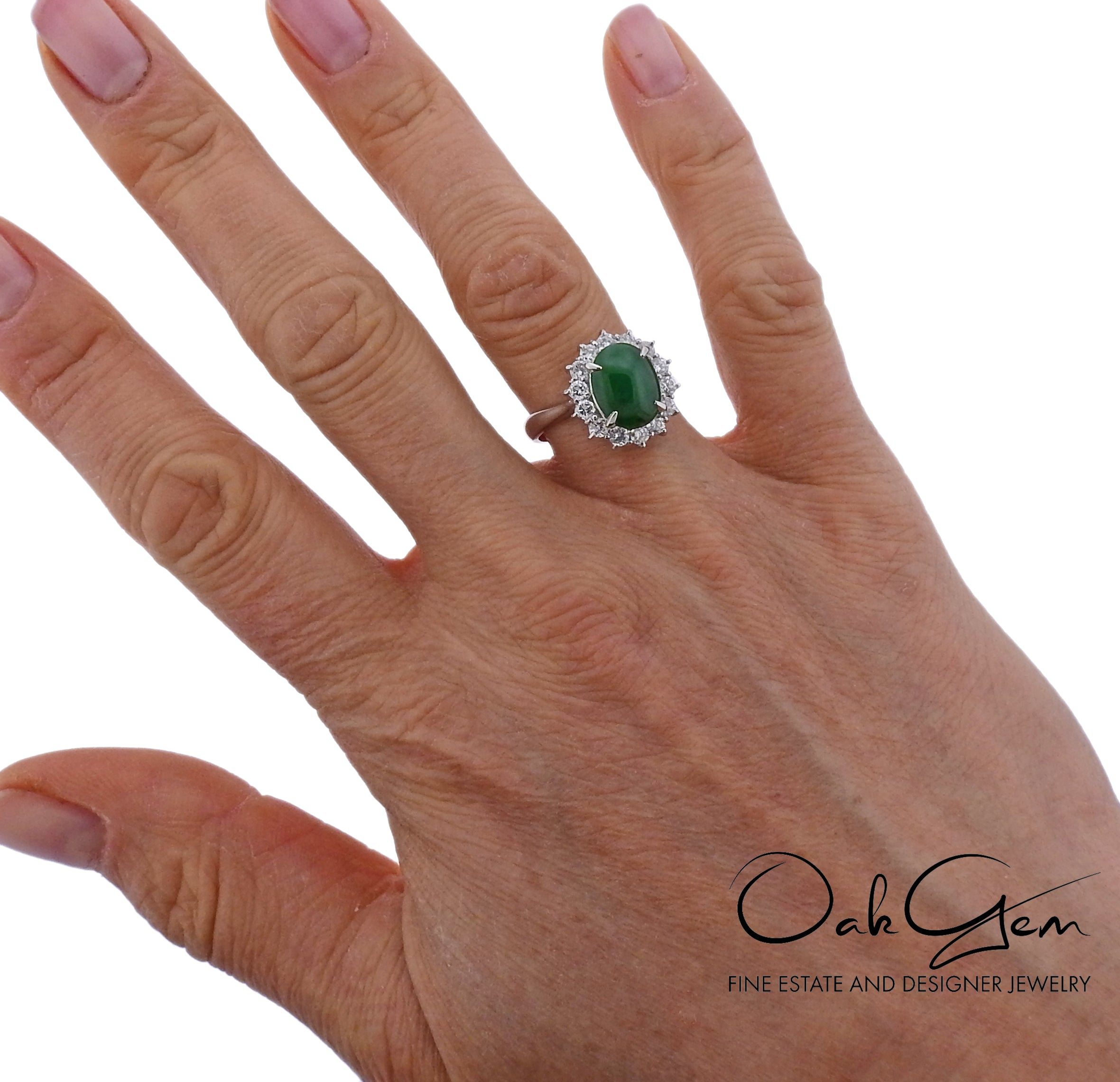 Jade Diamond Platinum Cocktail Ring