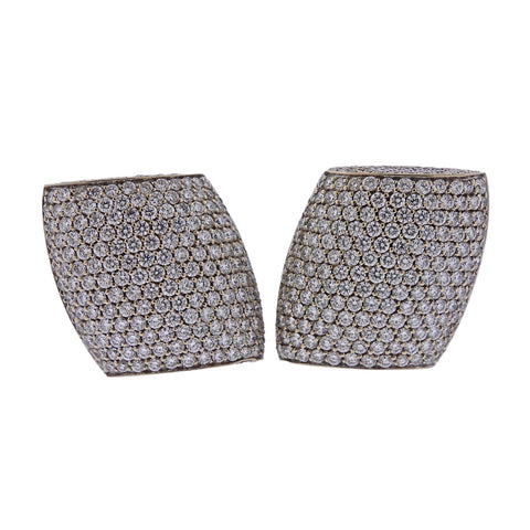 image of Vhernier Plateau Diamond Gold Earrings