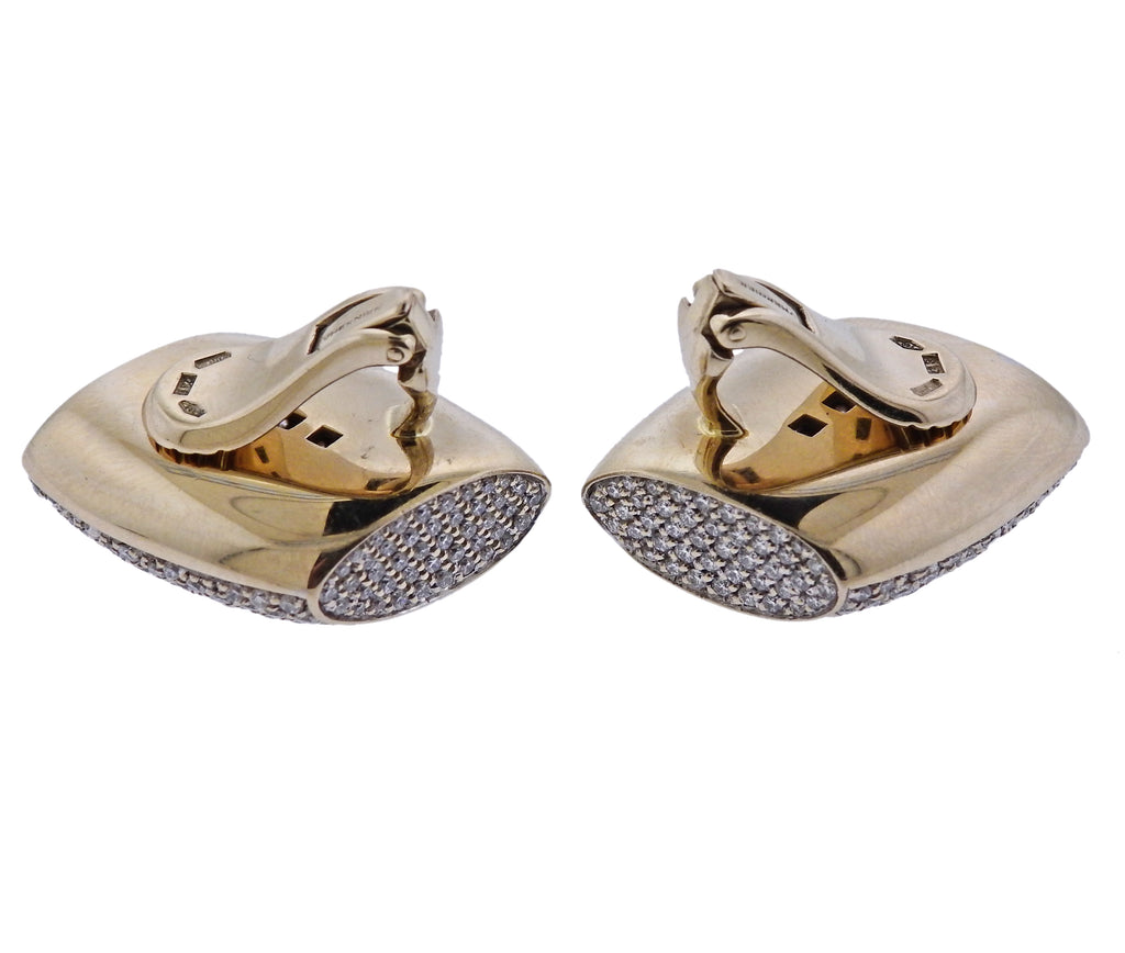 thumbnail image of Vhernier Plateau Diamond Gold Earrings