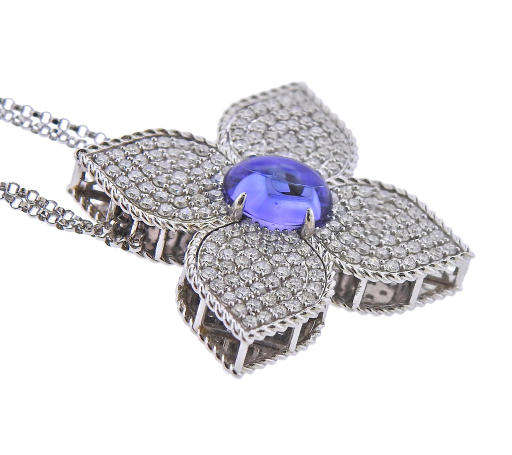thumbnail image of Roberto Coin Gold Princess Flower Diamond Tanzanite Pendant Necklace