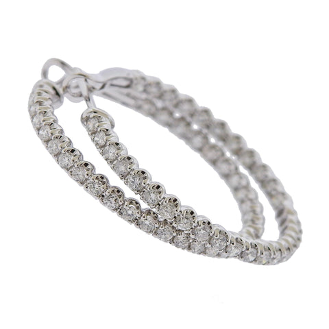 image of 1.83ctw Inside Out Diamond Gold Hoop Earrings