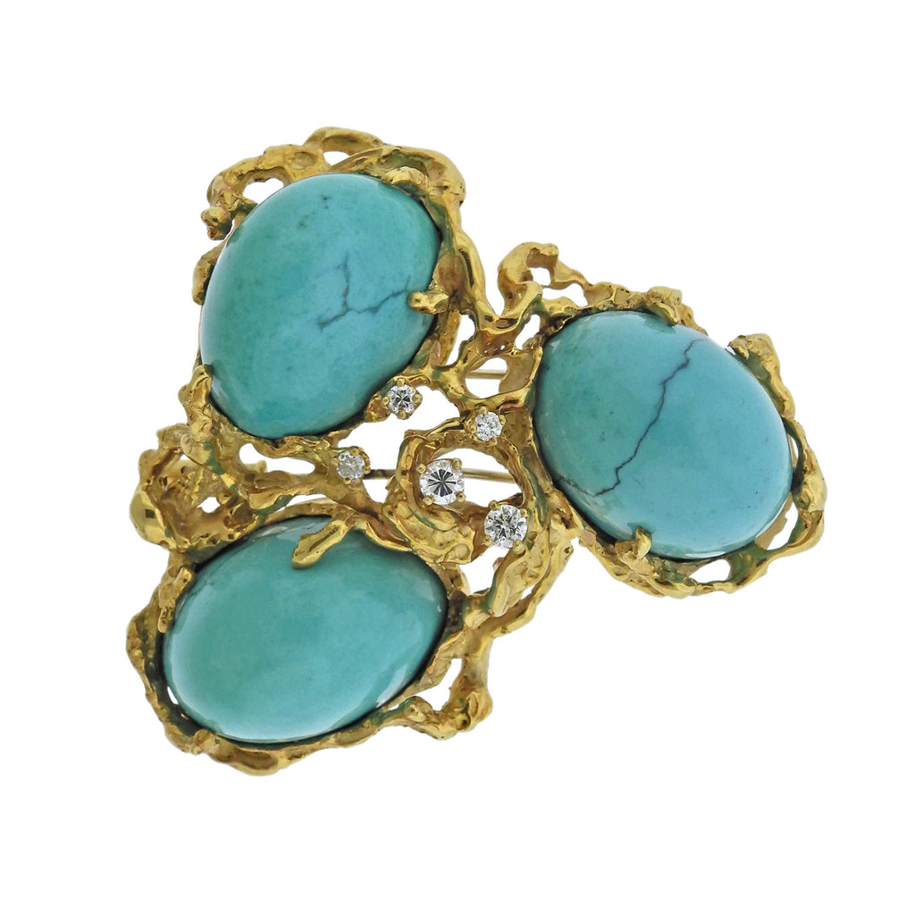 thumbnail image of Arthur King Turquoise Diamond 18k Gold Large Free Form Brooch