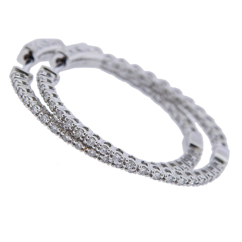 image of 0.57ctw Inside Out Diamond Gold Hoop Earrings