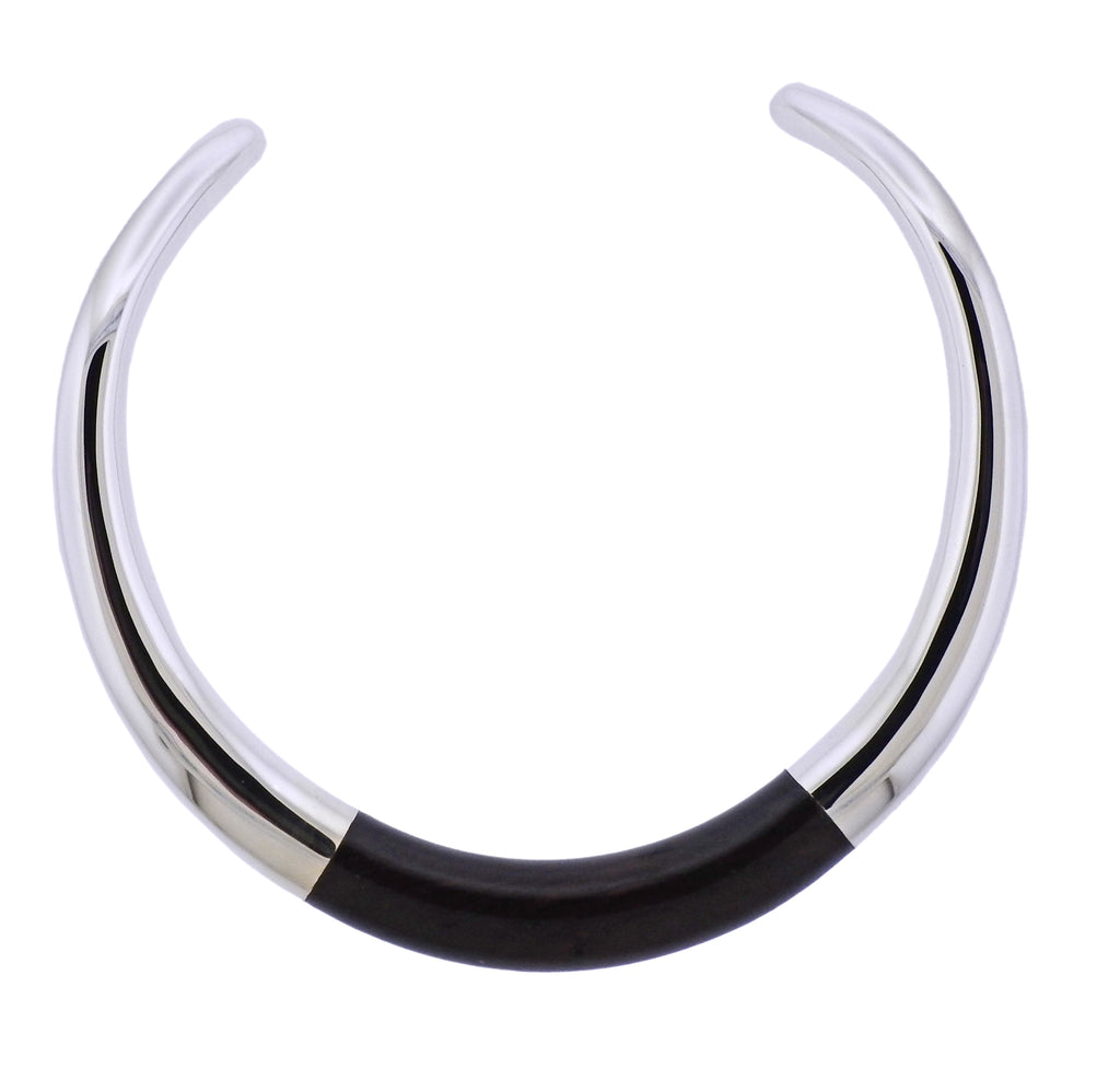 thumbnail image of Georg Jensen Aura Sterling Silver Ebony Collar Necklace