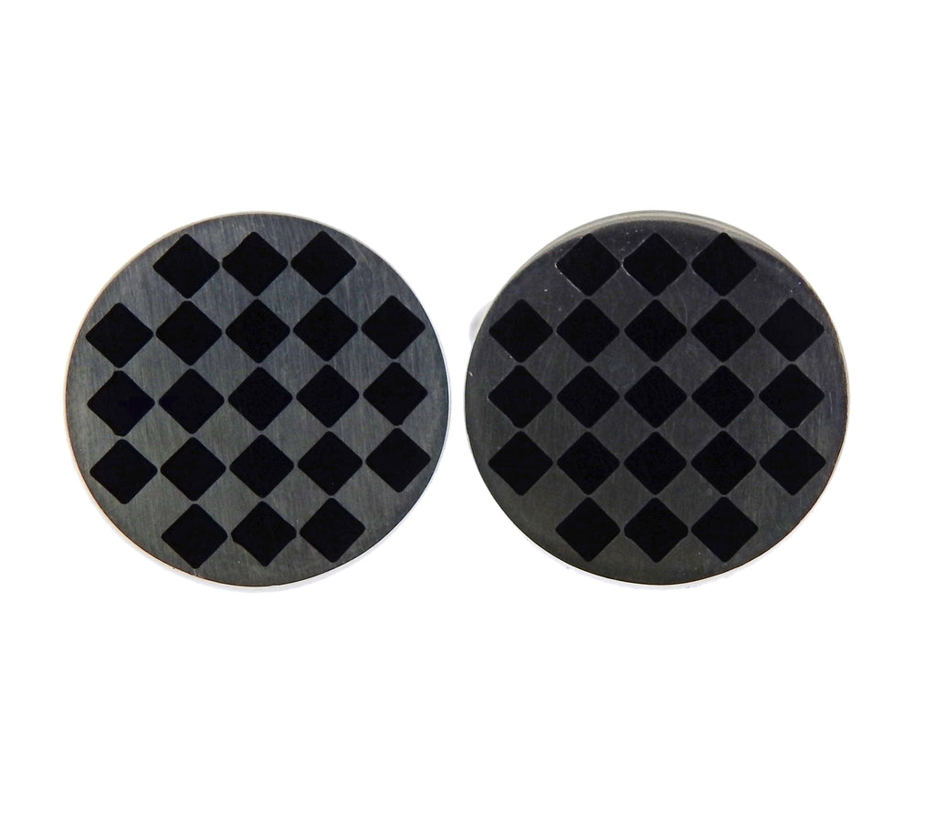 thumbnail image of Georg Jensen Checkered Sterling Silver Enamel Cufflinks