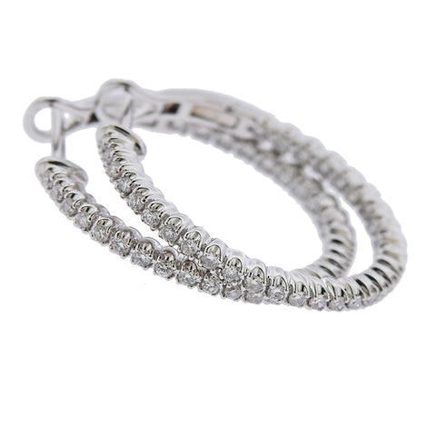 image of 0.64ctw Inside Out Diamond Gold Hoop Earrings