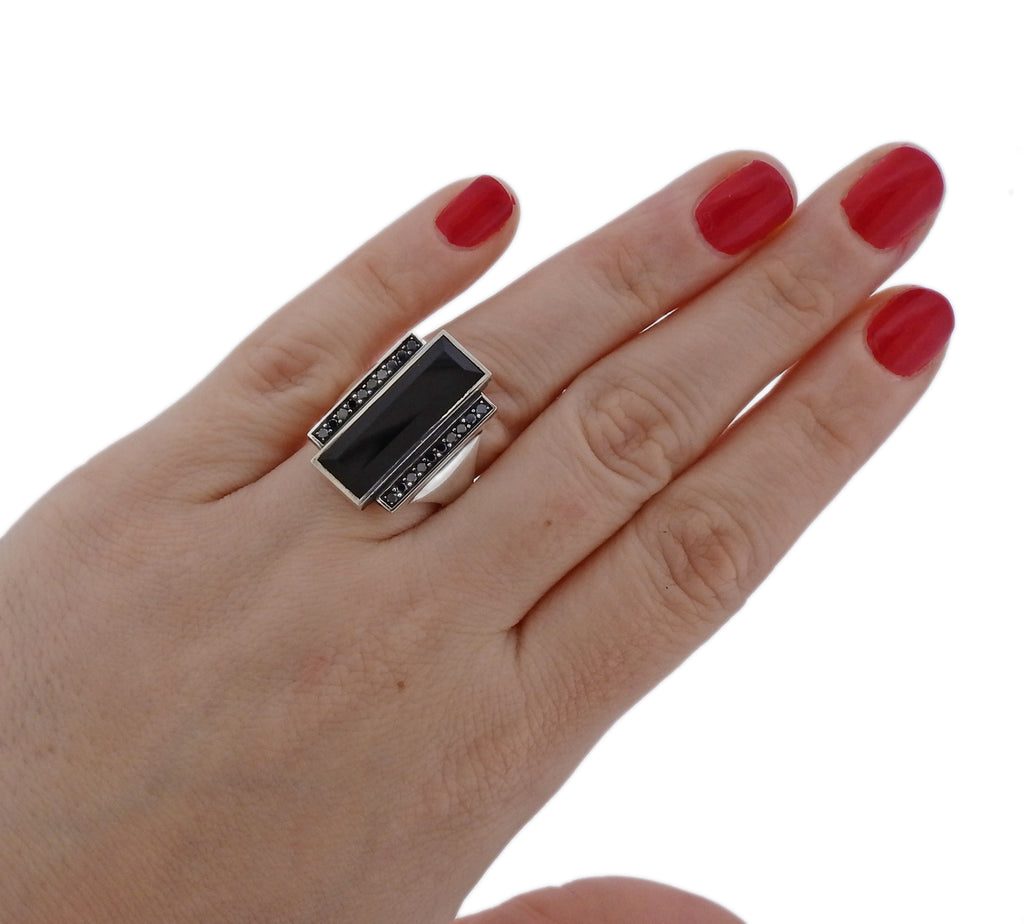 thumbnail image of Georg Jensen Nocturne Black Diamond Onyx Sterling Silver Ring
