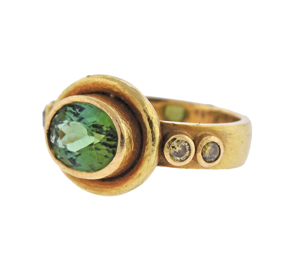 thumbnail image of Elizabeth Locke 18k Gold Fancy Diamond Tourmaline Ring