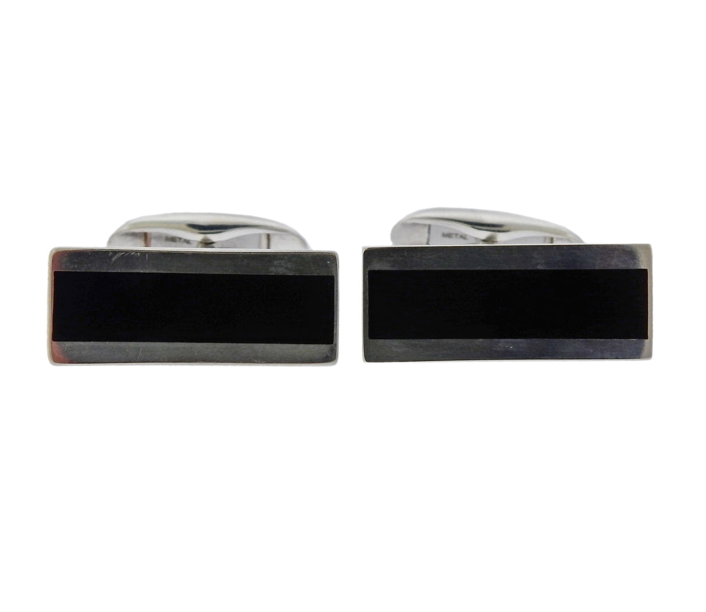 thumbnail image of Georg Jensen Black Enamel Sterling Silver Bar Cufflinks