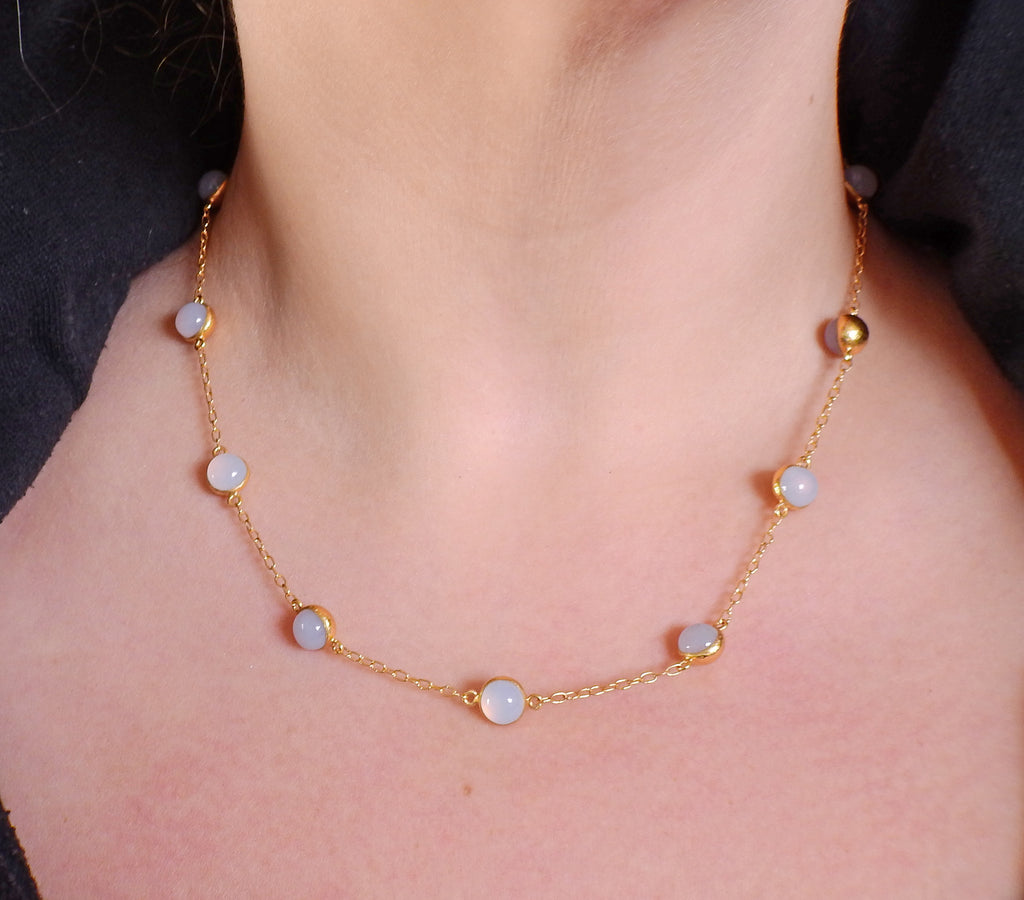thumbnail image of Gurhan Demi Balloon Gold Chalcedony Station Necklace