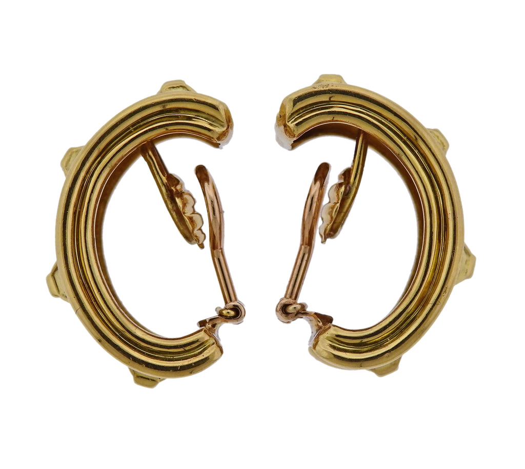 thumbnail image of Tiffany & Co Gold Half Hoop Earrings