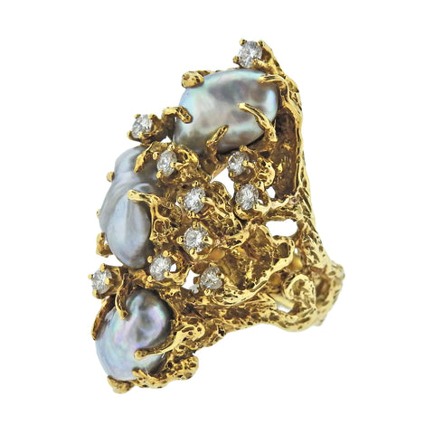 image of Arthur King Diamond Pearl 18k Gold Free Form Ring