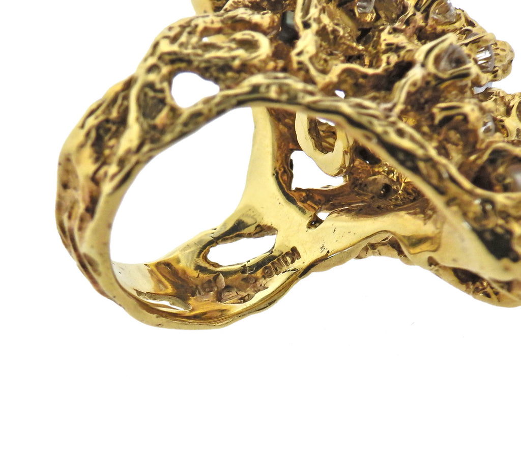 thumbnail image of Arthur King Diamond Pearl 18k Gold Free Form Ring