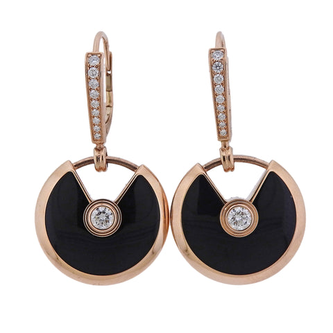 image of Cartier Amulette Onyx Diamond Gold Earrings