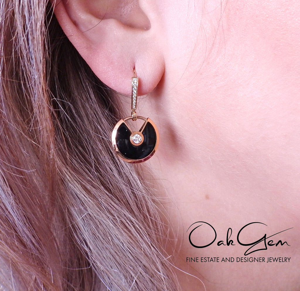 thumbnail image of Cartier Amulette Onyx Diamond Gold Earrings