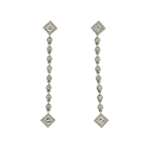 image of Tiffany & Co Grace Platinum Diamond Drop Earrings