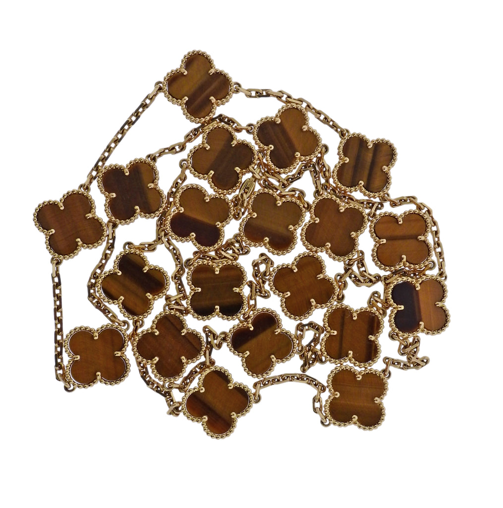 thumbnail image of Van Cleef & Arpels Vintage Alhambra Tiger's Eye 20 Motif Gold Necklace