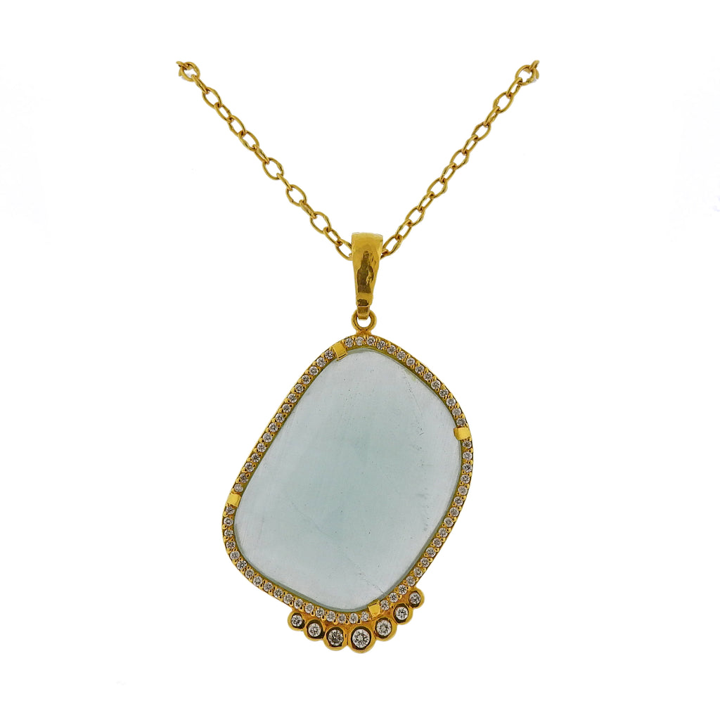 thumbnail image of Gurhan One of a Kind Gold Diamond Aquamarine Necklace Pendant