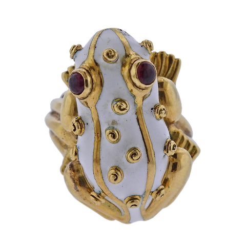 image of David Webb Ruby Enamel Gold Frog Ring