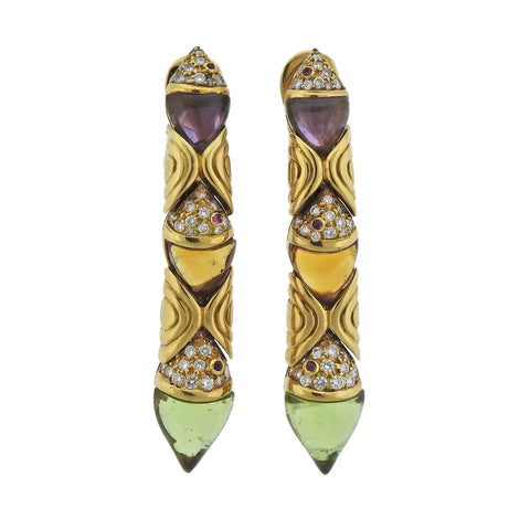 image of Bulgari Diamond Peridot Amethyst Citrine 18k Gold Earrings