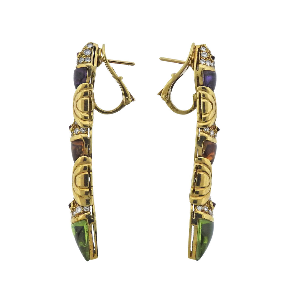thumbnail image of Bulgari Diamond Peridot Amethyst Citrine 18k Gold Earrings