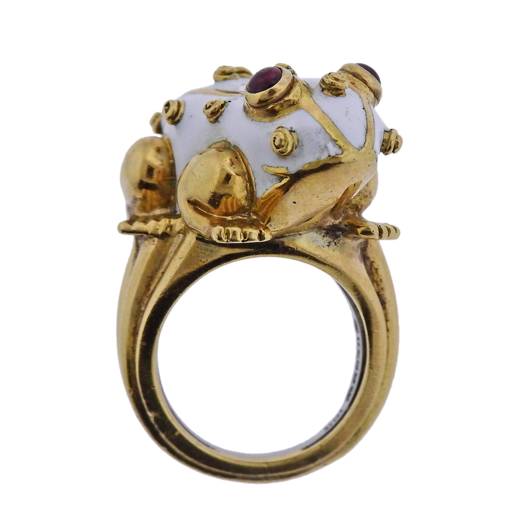 thumbnail image of David Webb Ruby Enamel Gold Frog Ring