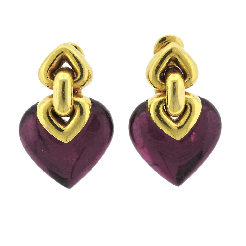 thumbnail image of Bulgari Doppio Pink Tourmaline 18k Gold Earrings