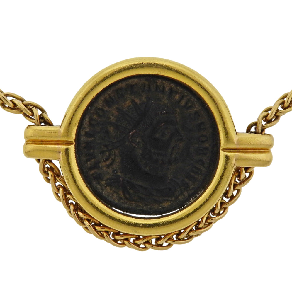 thumbnail image of Bulgari Monete Roma Constantinus Ancient Coin Gold Necklace