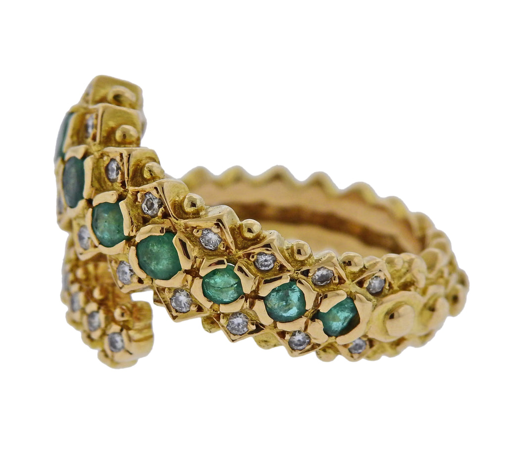 thumbnail image of Lalaounis Greece Emerald Diamond Gold Ring