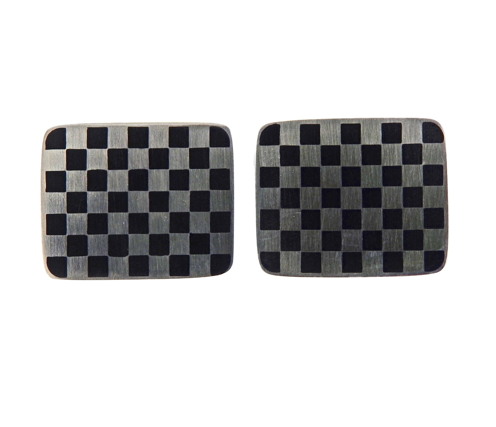 thumbnail image of Georg Jensen Checkered Sterling Silver Cufflinks