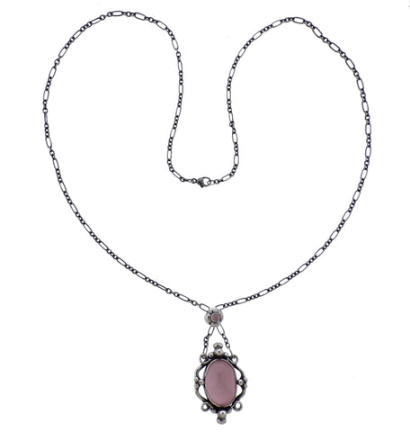 image of Georg Jensen Rose Quartz Sterling Silver Pendant Necklace