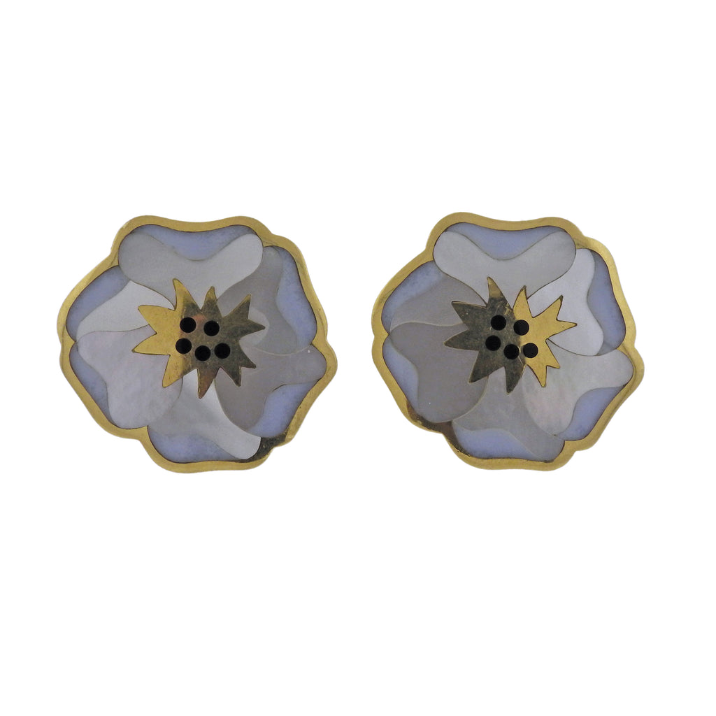 thumbnail image of Tiffany & Co Gold Mother of Pearl Onyx Flower Earrings