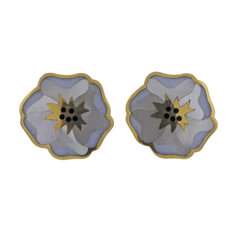 image of Tiffany & Co Gold Mother of Pearl Onyx Flower Earrings