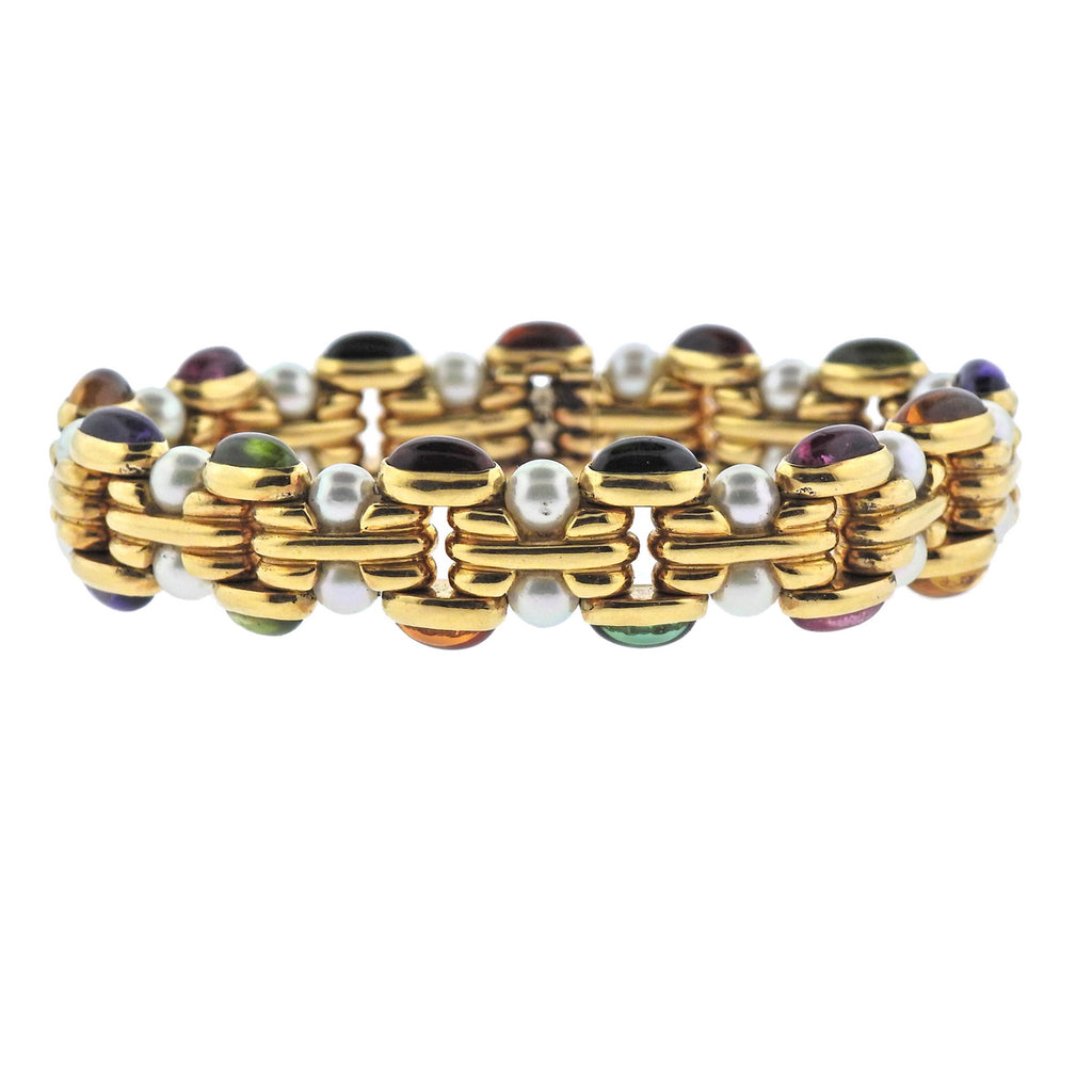 thumbnail image of Bulgari Pearl Multi Gemstone 18k Gold Bracelet