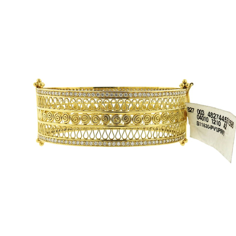New Temple St Clair 18k Gold Diamond Bangle Bracelet