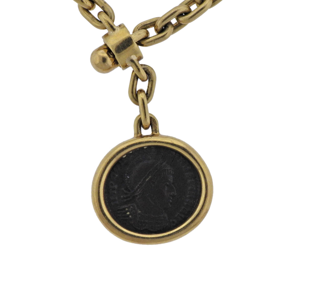 thumbnail image of Bulgari Monete Roman Empire Ancient Coin Gold Key Chain