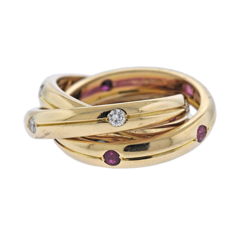 image of Cartier Trinity Diamond Ruby Sapphire Gold Rolling Band Ring