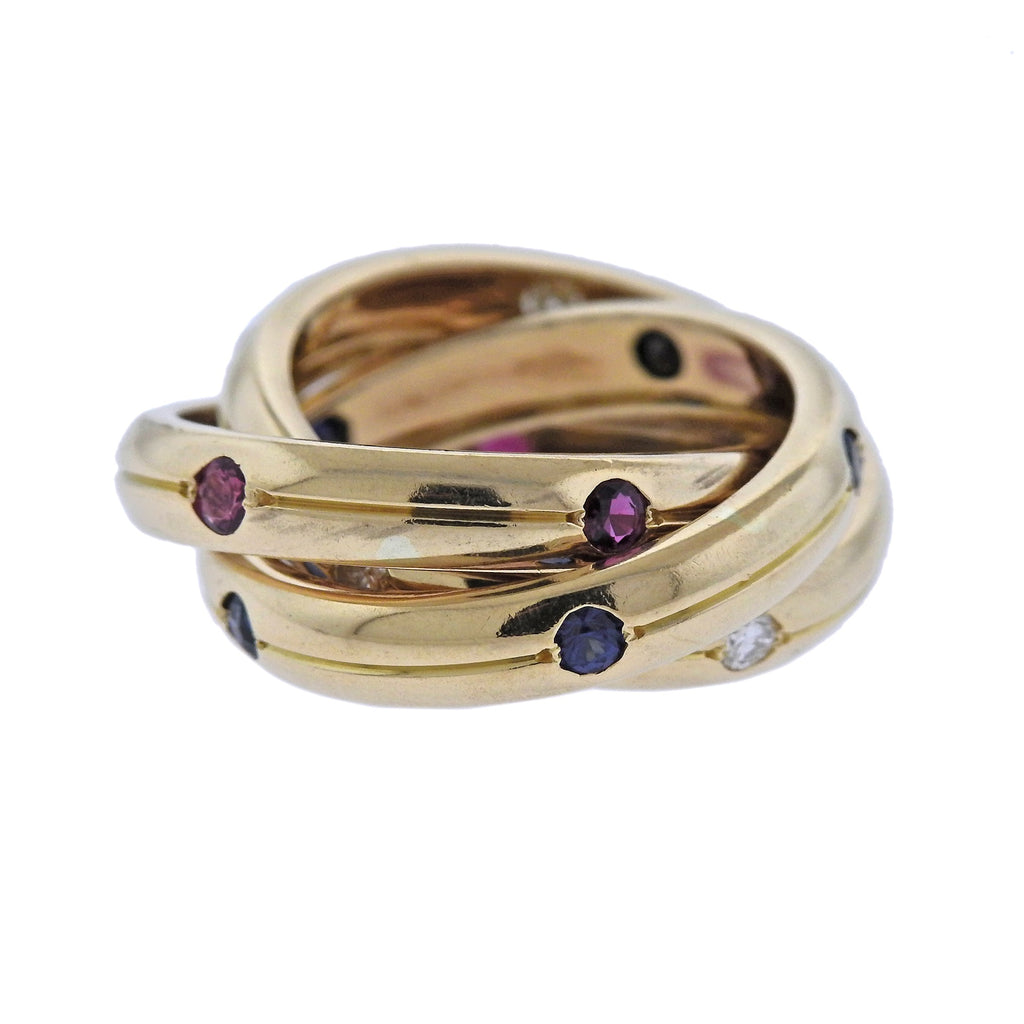 thumbnail image of Cartier Trinity Diamond Ruby Sapphire Gold Rolling Band Ring