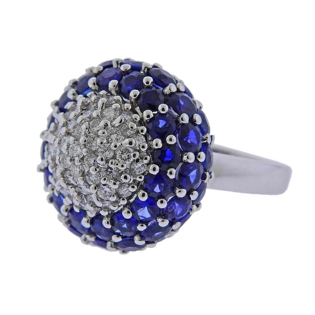 thumbnail image of 9 Carat Sapphire Diamond Gold Dome Ring