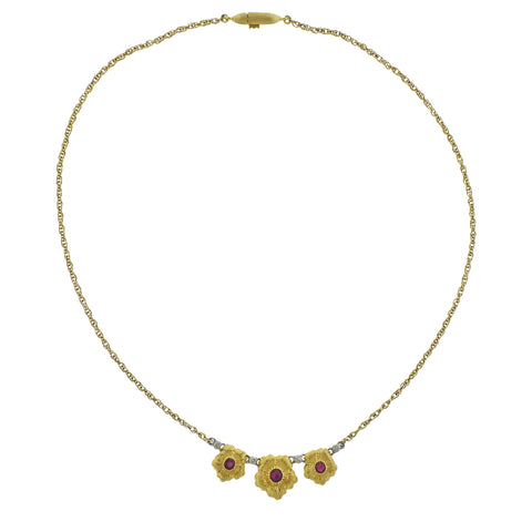 image of Buccellati Ruby Gold Flower Pendant Necklace