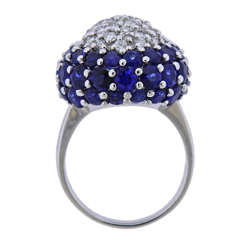 image of 9 Carat Sapphire Diamond Gold Dome Ring